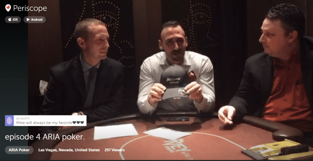 Paul Campbell, Sean McCormack, and Michael Williams on Periscope at Aria Poker